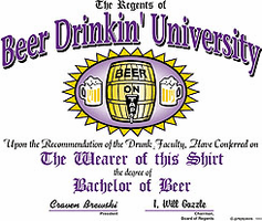 Shirt:  Beer Drinkin' University drinking