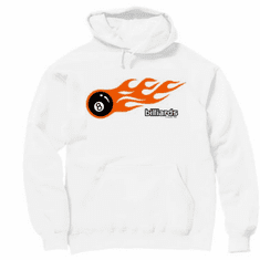 Sports Billiards pool 8 ball with flames hoodie hooded sweatshirt