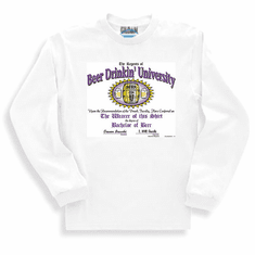 sweatshirt or long sleeve T-Shirt:  Beer Drinkin' University drinking party college bachelor of