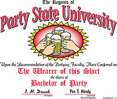 T-Shirt: Party State University College Beer Drinking T-shirt