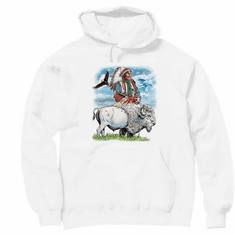 western american indian, bald eagle, buffalo hoodie hooded sweatshirt