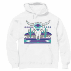 Western hoodie hooded sweatshirt cactus cattle buffalo skull desert native american