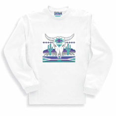 Western sweatshirt or long sleeve T-shirt cactus cattle buffalo skull desert native american