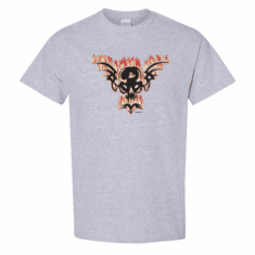 WHOLESALE 6 PACK Biker T-shirts Sports Gray White Skull Fire 3517