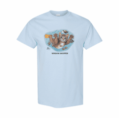 WHOLESALE 6 pack T-shirts light blue window Shopper Cat Kitten Design