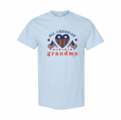 WHOLESALE 6 Pack of Family T-shirts Light Blue All American Grandma Grandmother