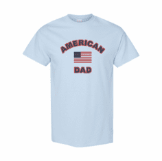 WHOLESALE 6 Pack of Family T-shirts Light Blue American Flag Dad Father