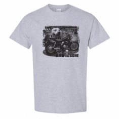 WHOLESALE 6 Pack Sports Gray T-shirts Biker  Bad to the Bone Motorcycle Dog Born to be free