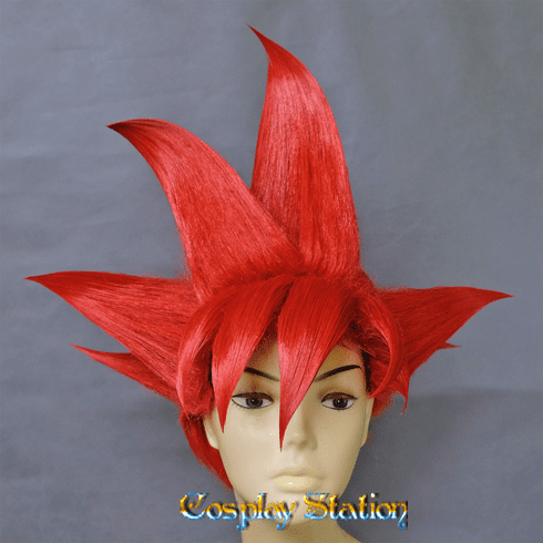SSJ God Mode Red Goku Cosplay Wig