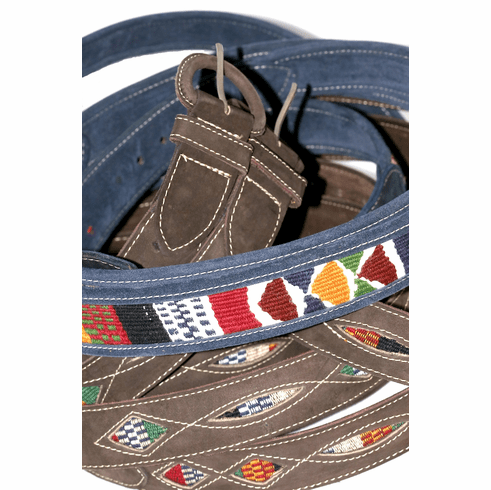 LEATHER WOOVEN FABRIC BELT FROM GUATEMALA