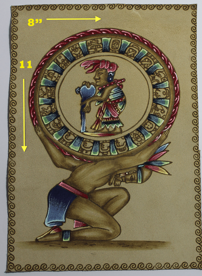 PYROGRAPHY ART - MAYAN CALENDAR WITH OFFERING