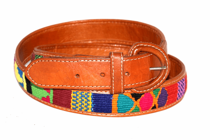 WOVEN LEATHER BELTS FROM GUATEMALA.