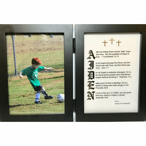 Old English 5X7 Double Frame with 1 Name Your Verse