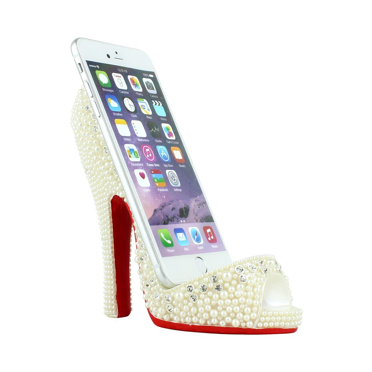 Pearl Crystal Shoe Cell Phone Holder Large
