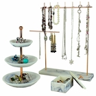 Set of 3 Rose Gold Marble Color Jewelry Dish Stand and Box