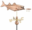 Bass with Lure Copper Weathervane