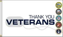 Thank You Veterans Dog Tag Flag 3x5