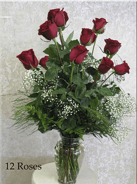 Dozen Roses with Babies Breath