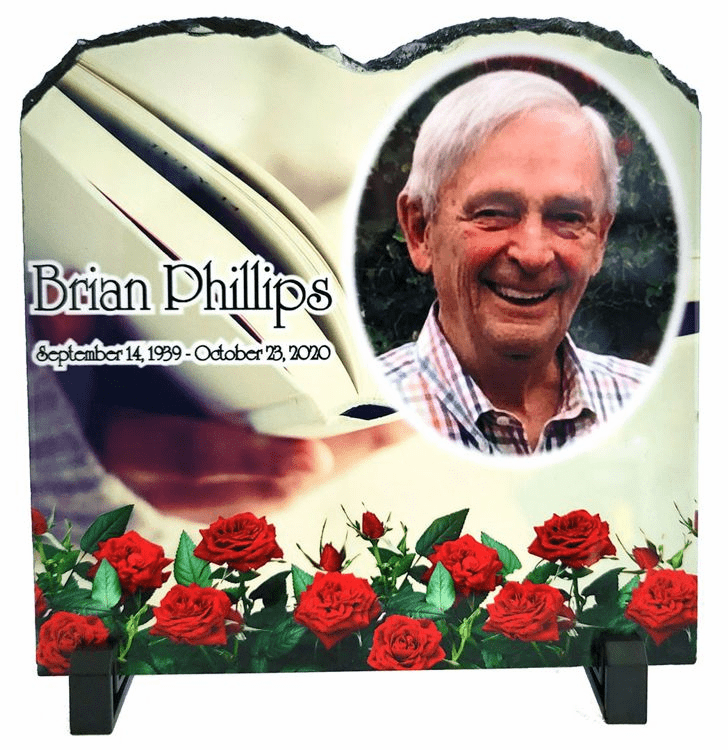 Natural Slate Tablet Photo Plaque with stand 7.87in x 7.87in