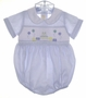 """<img src=""""https://p11.secure.hostingprod.com/@grammies-attic.com/ssl/images/blue-sold-1.gif""""> Anavini Pale Blue Smocked Baby Romper with Birthday Embroidery"""