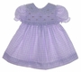 """<img src=""""https://p11.secure.hostingprod.com/@grammies-attic.com/ssl/images/blue-sold-1.gif""""> B. T. Kids Lilac Checked Smocked Baby Dress with Pink Rosebud Embroidery"""
