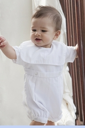 NEW Petit Ami White Romper with Portrait Collar and Embroidered Cross and Matching Hat (CR1003)