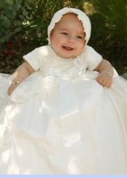 NEW Sarah Louise Ivory Silk Christening Gown with Exquisitely Embroidered Overlay (CR0911)