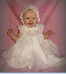 NEW Will'Beth White Baby Sundress with Duck Appliques (CC05193) and NEW White Pintucked Bonnet with Eyelet Trim and White Satin Ribbon (BB0719)