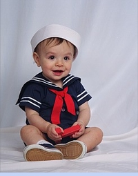 NEW C. I. Castro Navy Button On Sailor Suit for Baby Boys (SS0401N) and Classic White Dixie Cup Sailor Hat for Babies, Toddlers and Children (SS04126)
