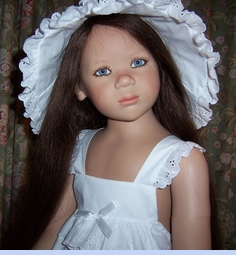NEW White Sun Bonnet with Tiers of Eyelet Ruffles (BB08111)