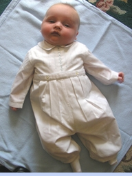 NEW Sarah Louise White Long Sleeved Baby Romper with Pale Blue Embroidery (CC05317)