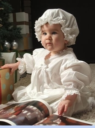 NEW Nanny's Touch White Cotton Gown with White Eyelet Trim (LC05228) with NEW Nanny's Touch White Cotton Nightcap with White Eyelet Trim  (LC05229)