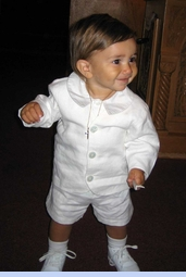 NEW Gordon and Company Pearl White Silk Eton Suit with Shorts (CC08111)