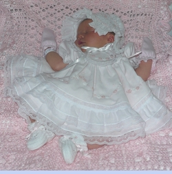 NEW Will'Beth Pink Baby Dress with Lace, Ribbons, Embroidery, and Seed Pearls (CC0683) with NEW Will'Beth White Smocked Baby Bonnet with Pink Embroidered Flowers (BB05218) and NEW White Cotton Crocheted Booties with Pink Satin Ribbon (BB05214)