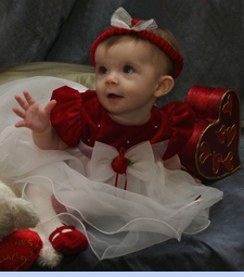 NEW Rare Editions Red Satin Baby Dress with White Ruffled Organdy Skirt (HOC0805)