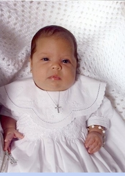 NEW Sarah Louise White Smocked Christening Gown with Scalloped Embroidered Portrait Collar with Short or Long Sleeves (CR0601)