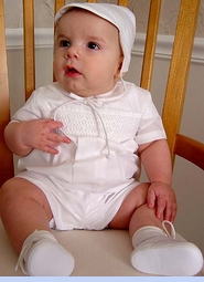 NEW Petit Ami White Smocked Romper with Fagoted Collar and Matching Hat (CC05135)