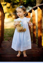 NEW Will'Beth White Bishop Smocked Dress with Blue Ruffled Slip (CC06111)