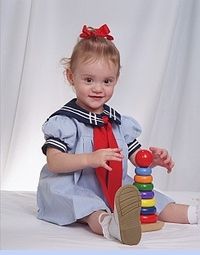NEW Little Bitty Blue Pinstriped Sailor Dress with Navy Collar and Red Tie (SS0509)