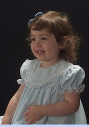 NEW Will'Beth Pale Blue Baby Dress with Lace, Ribbons, Embroidery, and Seed Pearls (CC06108)