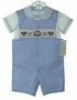 """<img src=""""https://p11.secure.hostingprod.com/@grammies-attic.com/ssl/images/blue-sold-1.gif"""">  Be Mine Blue Striped Smocked Shortall Set with Noahs Ark Embroidery"""