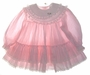 """<img src=""""https://p11.secure.hostingprod.com/@grammies-attic.com/ssl/images/blue-sold-1.gif""""> Bryan Pink Striped Baby Dress with Ruffles and Lace"""