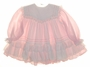 """<img src=""""https://p11.secure.hostingprod.com/@grammies-attic.com/ssl/images/blue-sold-1.gif""""> Bryan Pink Striped Baby Dress with White Ribbon and Lace Trimmed Pinafore"""