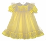 """<img src=""""https://p11.secure.hostingprod.com/@grammies-attic.com/ssl/images/blue-sold-1.gif""""> Bryan Yellow Dotted Toddler Dress with White Lace Trimmed Pinafore"""