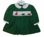 "<img src=""https://p11.secure.hostingprod.com/@grammies-attic.com/ssl/images/blue-sold-1.gif""> Carriage Boutiques Green Corduroy Smocked Baby Dress with Santa Embroidery"