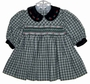 "<img src=""https://p11.secure.hostingprod.com/@grammies-attic.com/ssl/images/blue-sold-1.gif""> Carriage Boutiques Green Plaid Smocked Baby Dress with Green Velvet Collar"