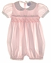"""<img src=""""https://p11.secure.hostingprod.com/@grammies-attic.com/ssl/images/blue-sold-1.gif""""> Carriage Boutiques Pale Pink Smocked Baby Bubble with Fagoted Collar"""