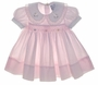 """<img src=""""https://p11.secure.hostingprod.com/@grammies-attic.com/ssl/images/blue-sold-1.gif""""> Carriage Boutiques Pale Pink Smocked Baby Dress with Organdy Edged Collar"""