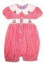 "<img src=""https://p11.secure.hostingprod.com/@grammies-attic.com/ssl/images/blue-sold-1.gif""> Carriage Boutiques Red Plaid Smocked Romper with Appliqued Cherries"
