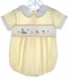 """<img src=""""https://p11.secure.hostingprod.com/@grammies-attic.com/ssl/images/blue-sold-1.gif""""> Carriage Boutiques Yellow Checked Shortall with Smocking and Embroidered Ducks"""